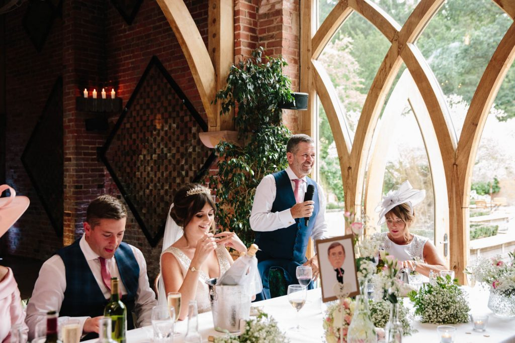 Father of the bride giving a speech in the wedding barn at shustoke
