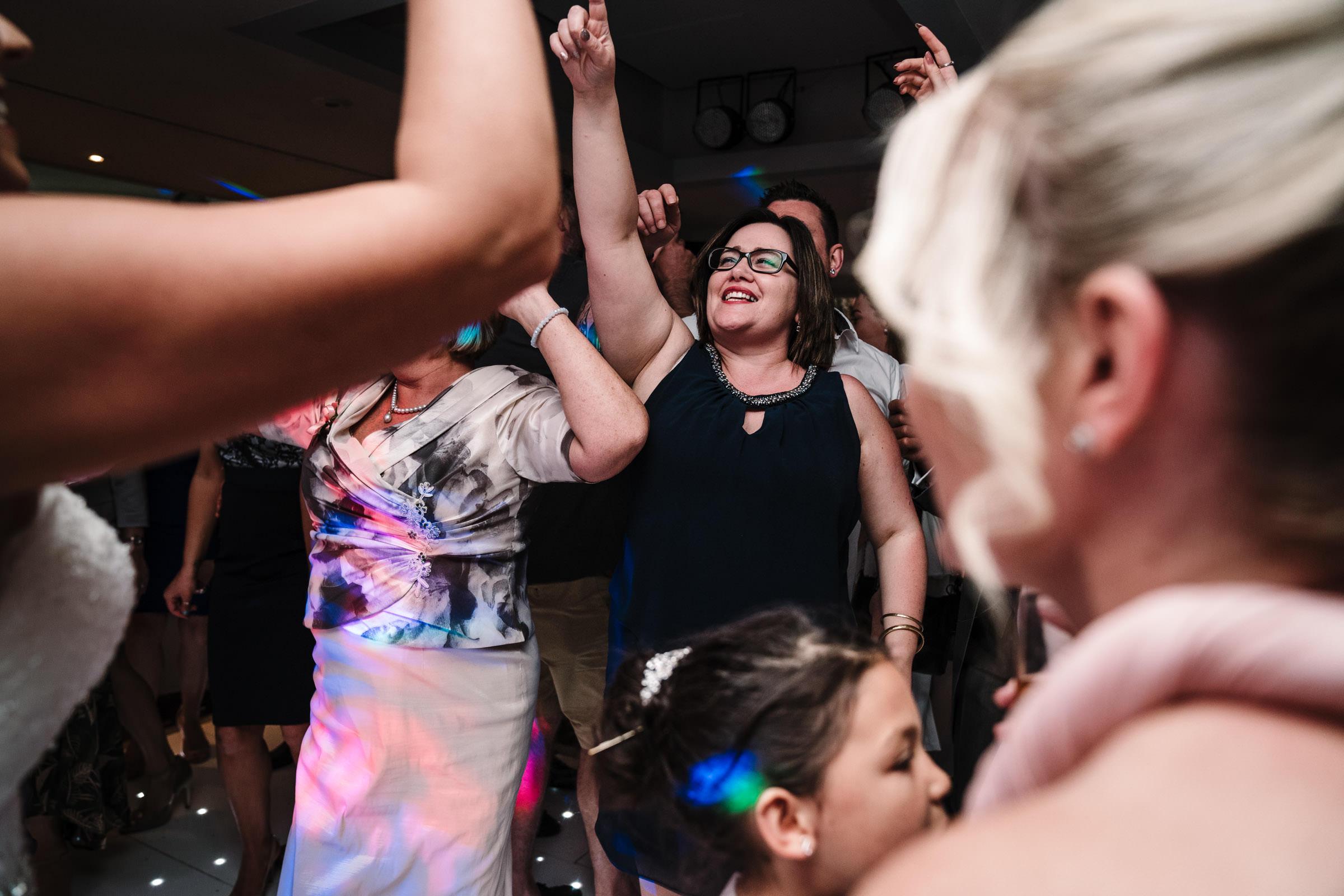 guests dancing at wedding reception, nailcote hall
