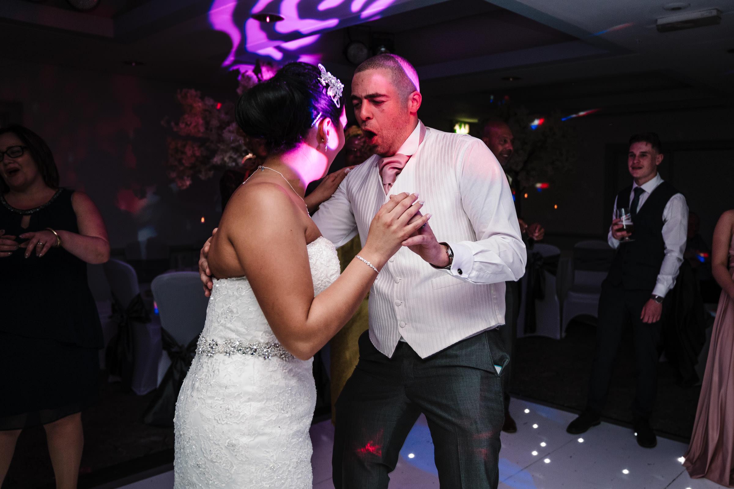 bride and groom dancing, nailcote hall