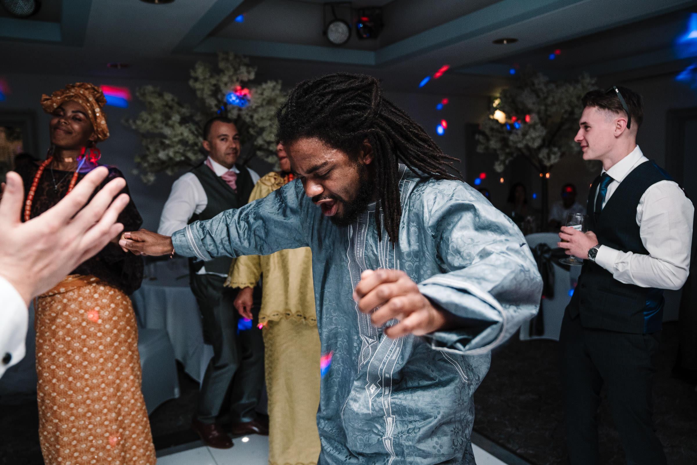 guest dancing at nailcote hall wedding