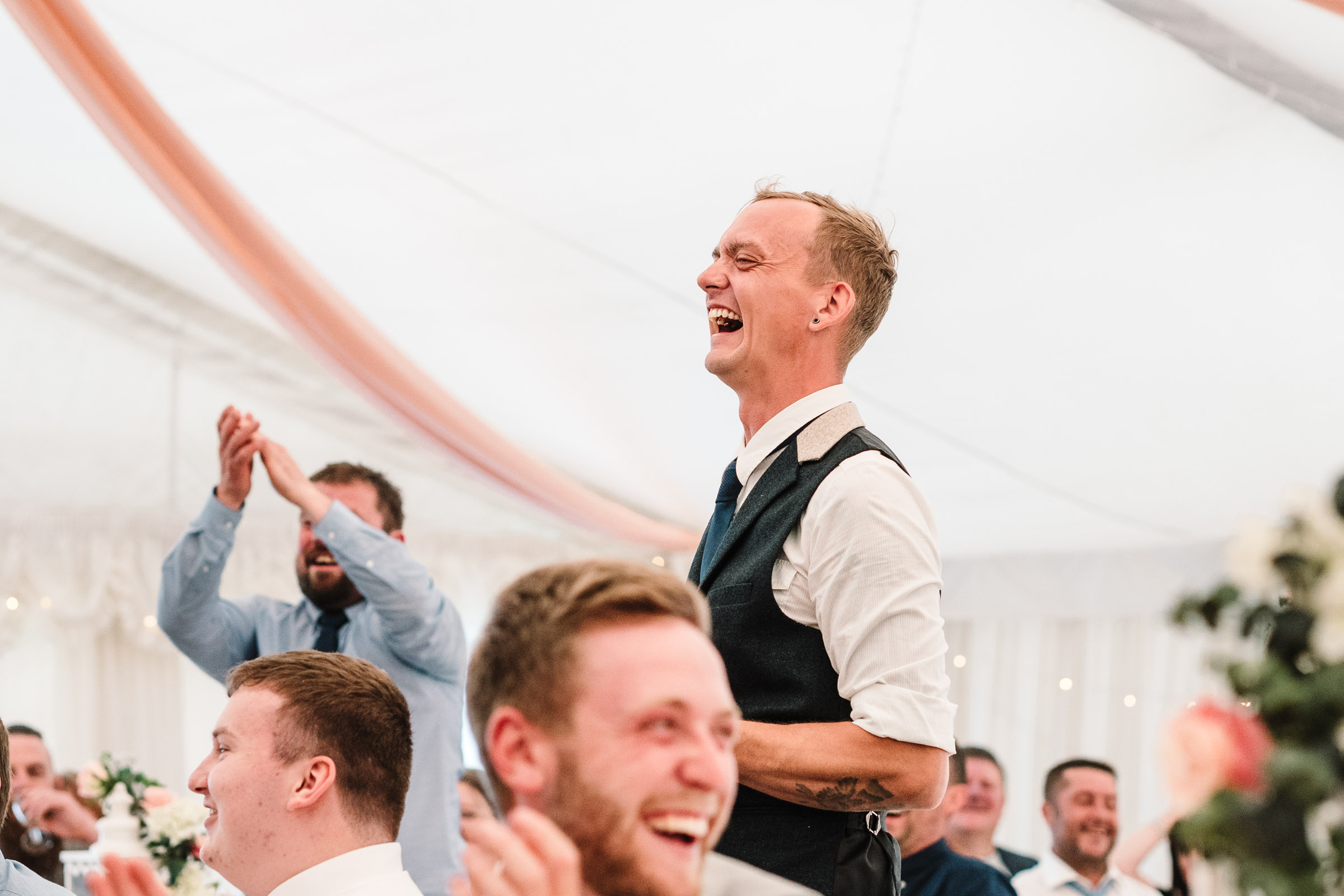 guest laughing at wedding speech, royal arms hotel