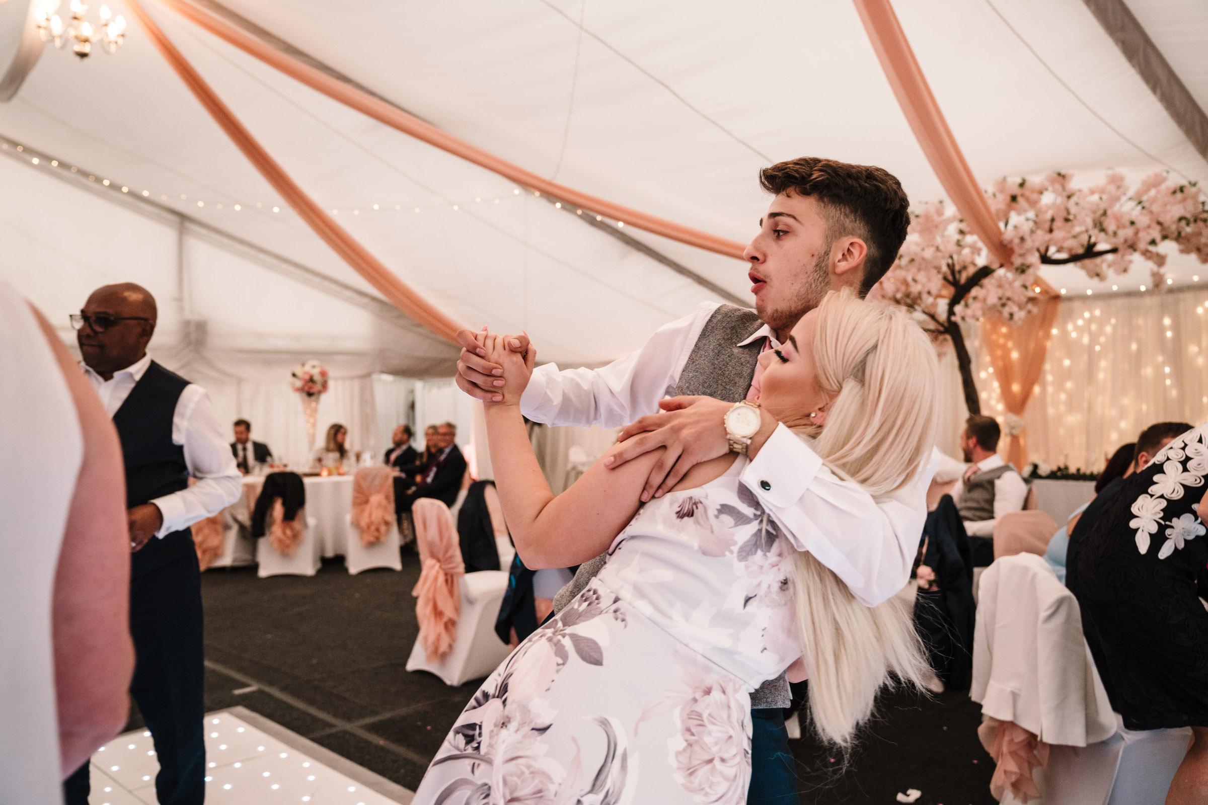 guest dancing at royal arms hotel wedding