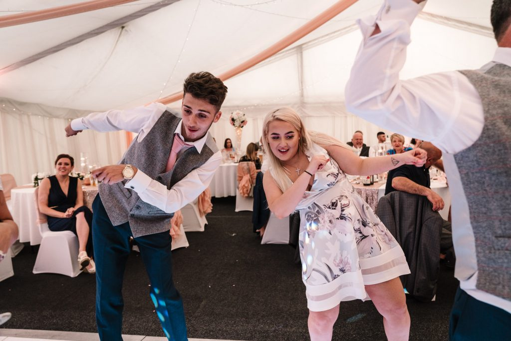 guests doing funny dance, royal arms hotel wedding