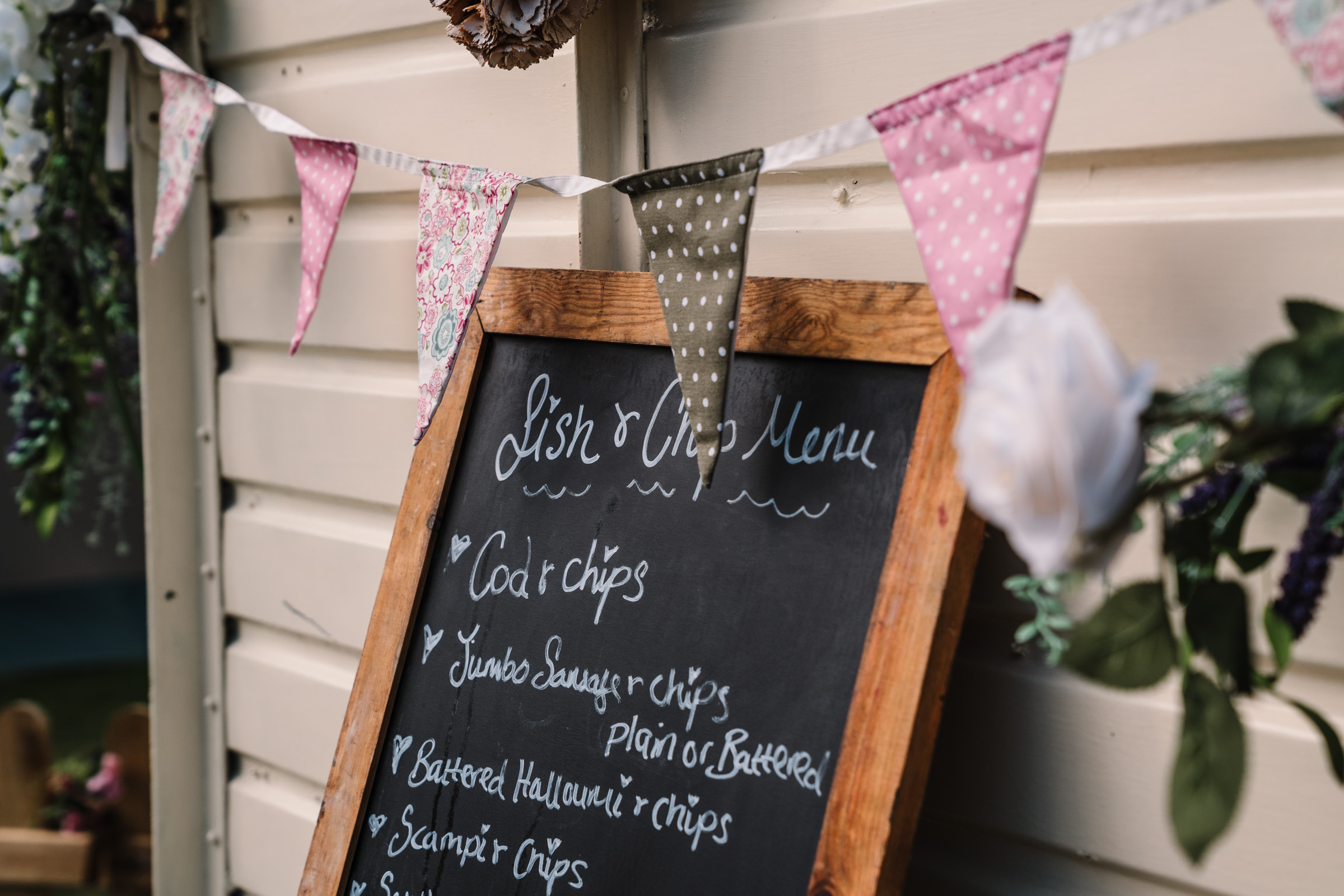 fish & chip sign at Castle Bromwich hall gardens wedding