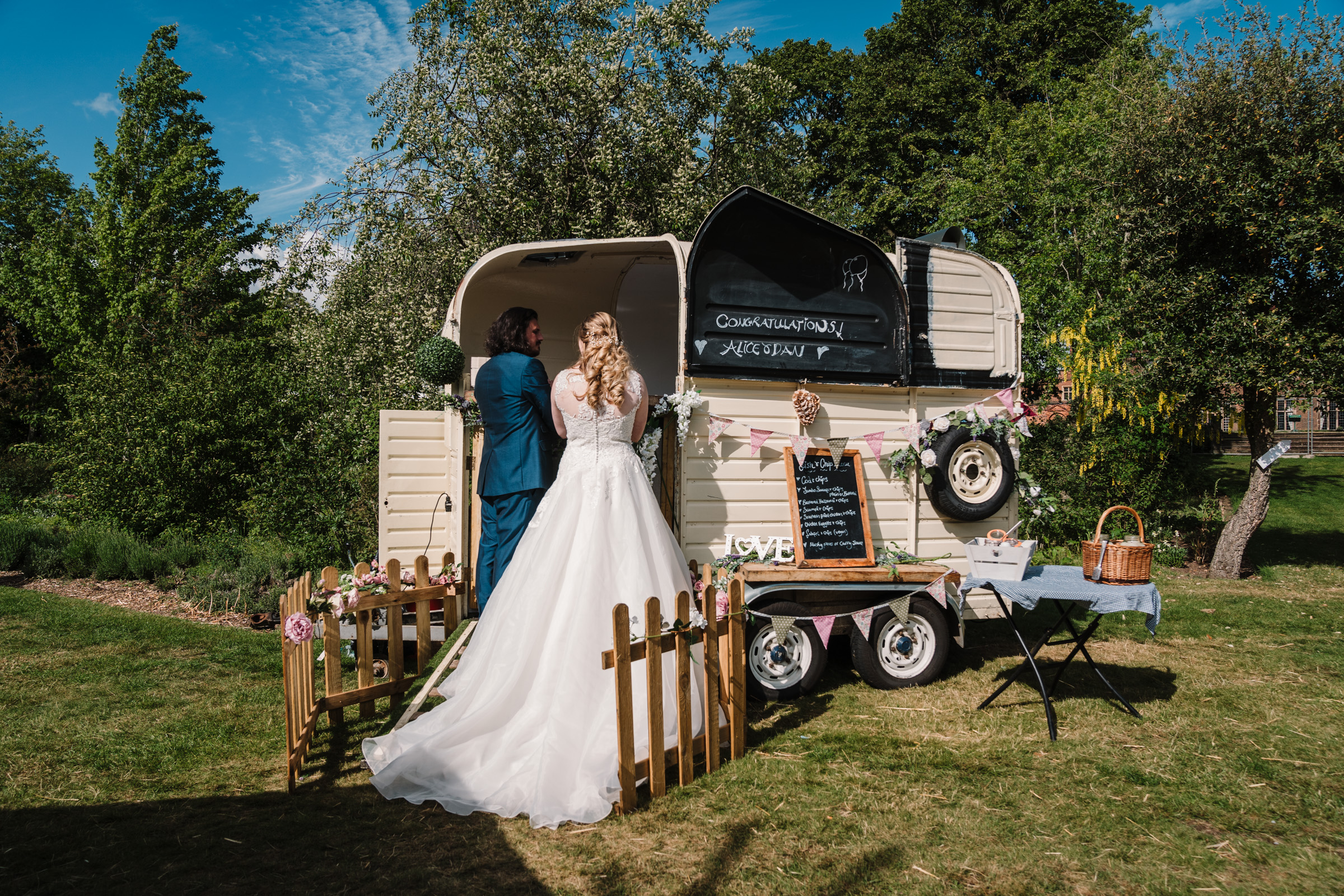 bride and groom at fish and chip van, Castle Bromwich Hall Gardens