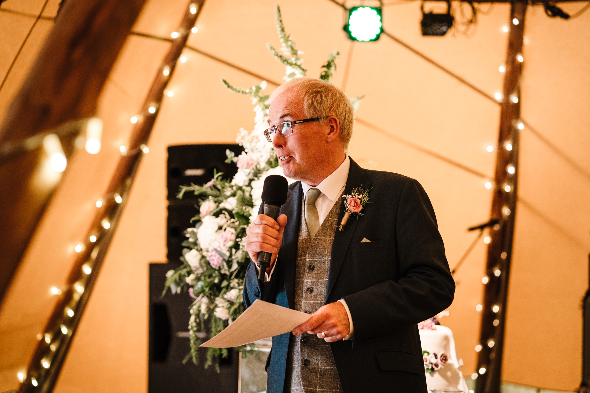 Father of the bride giving speech at Castle Bromwich Hall Garden wedding