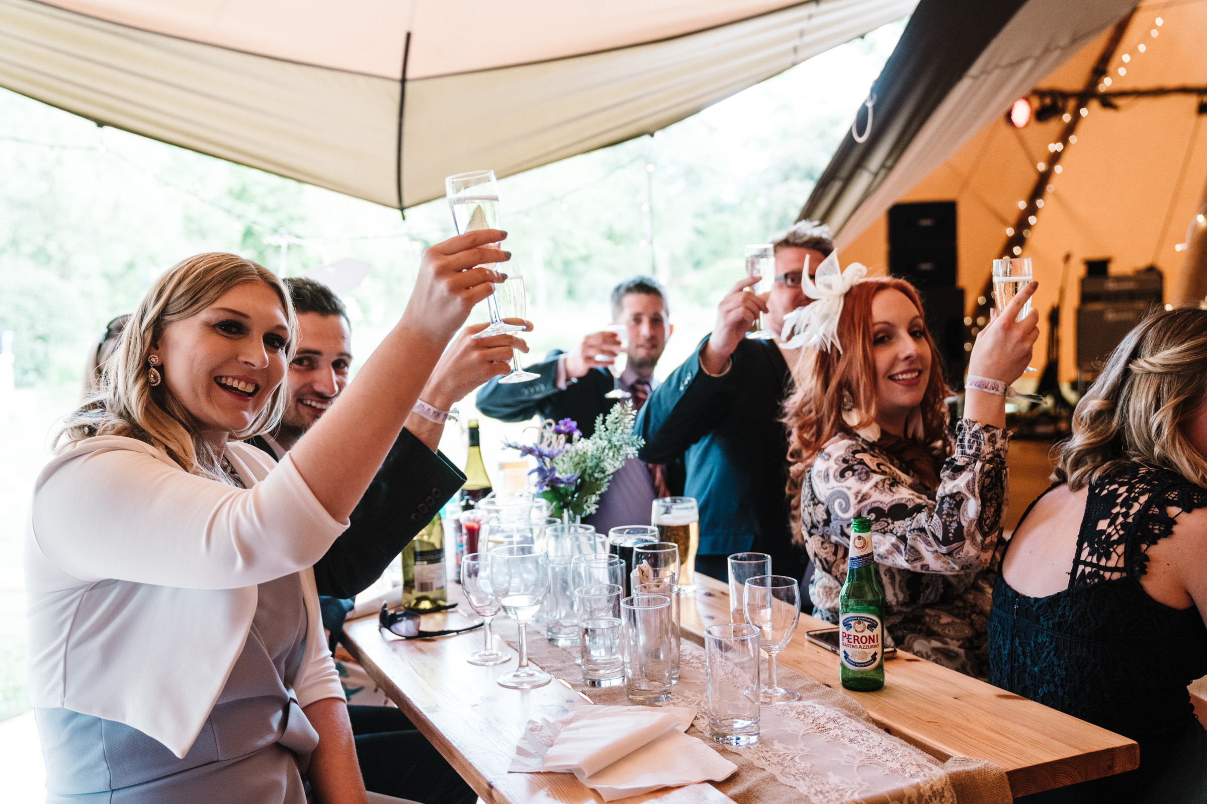 Guests raising a glass at castle Bromwich hall garden wedding