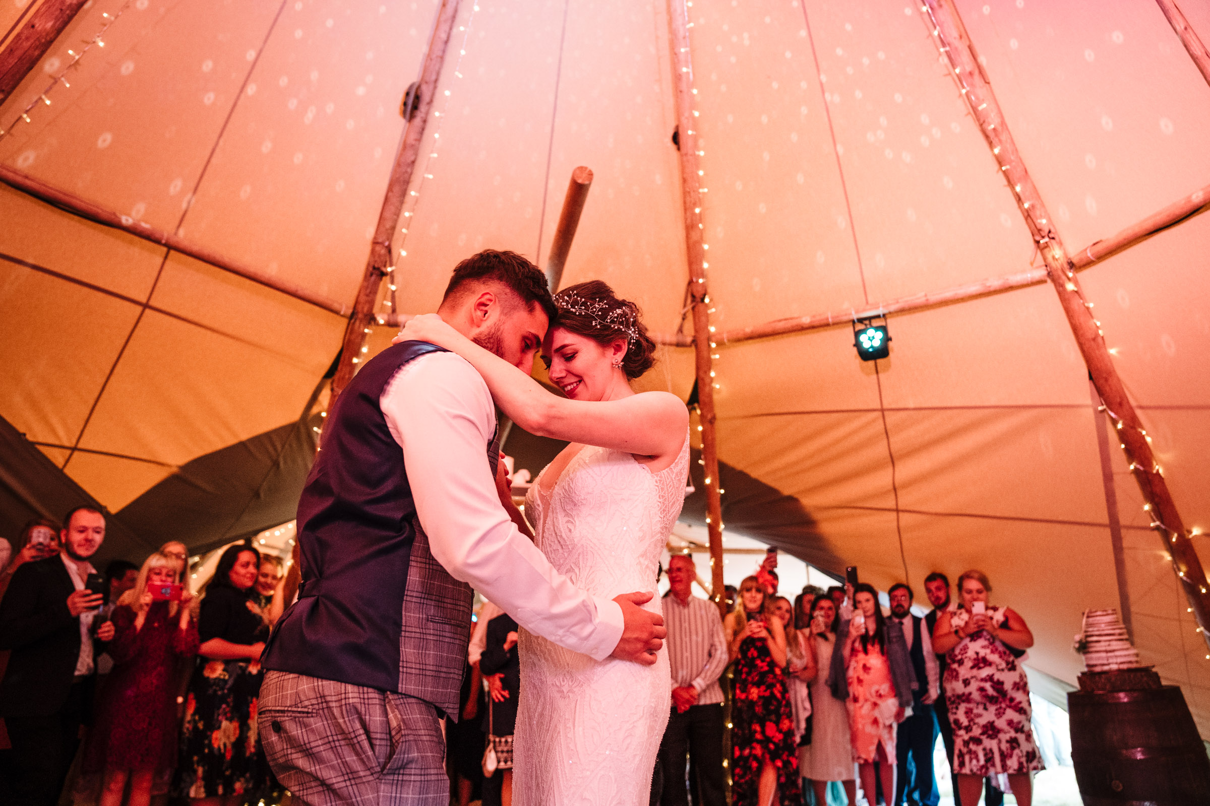bride and groom first dance, tipi wedding