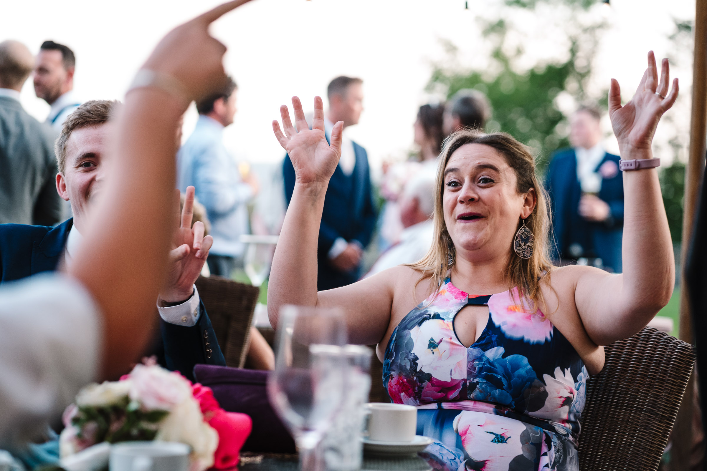 guest laughing at wood norton wedding