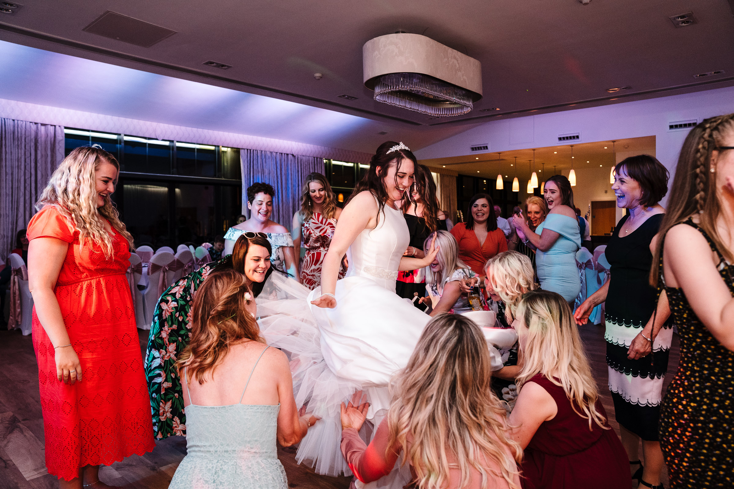 Bride spinning on dance floor at wood norton