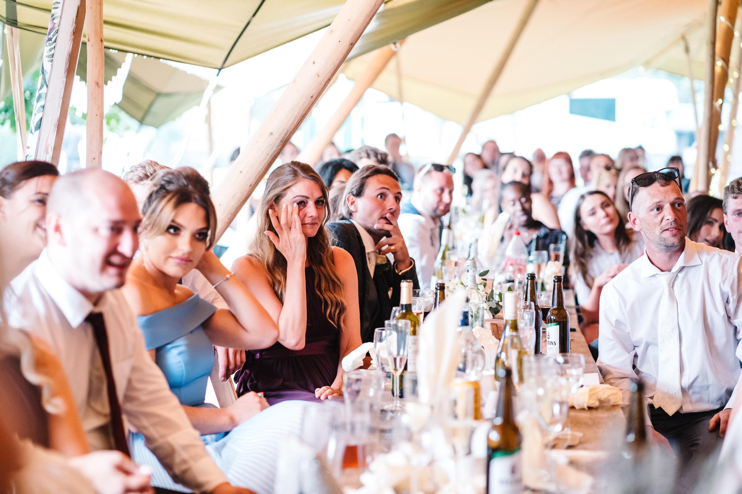 bridesmaid crying during wedding speech