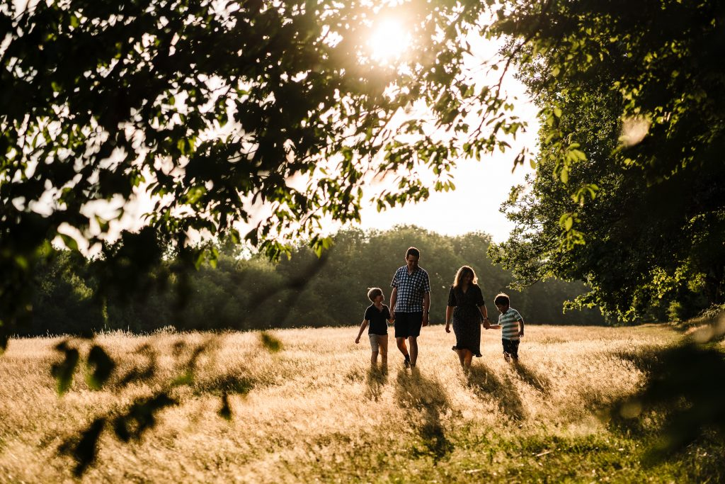A backlit photograph of a family walking in long grass in Newbold Comyn, Leamington Spa